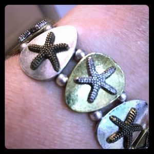 Bracelet Starfish mixed metal gold and silver